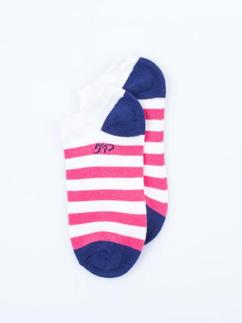 Skarpetki damskie stopki różowe i fioletowe paski zestaw 2 pary                                  zdj.                                  3