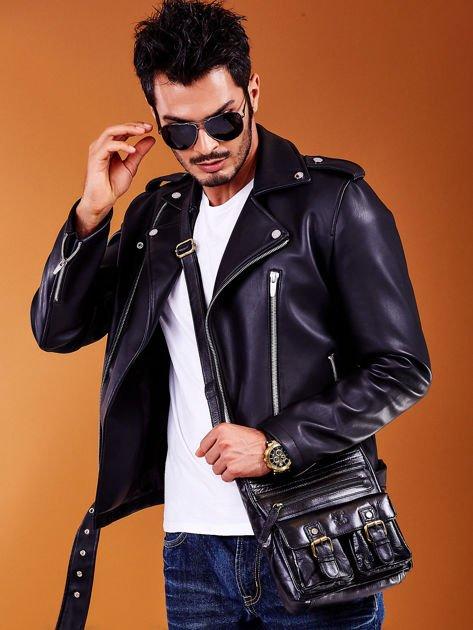 Skórzana torba męska czarna z kieszeniami                              zdj.                              2