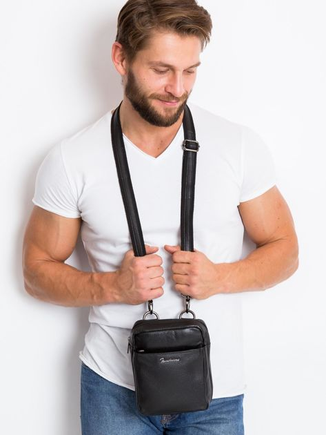 Skórzana torba męska z klapką czarna                              zdj.                              2