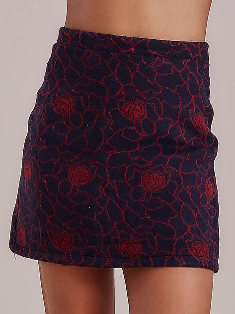 Spódnica mini granatowa w kwiaty                              zdj.                              1