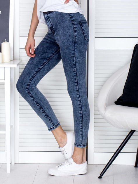Spodnie ciemnoniebieskie high waist z dekatyzacją                                   zdj.                                  3