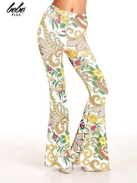 Spodnie dzwony we wzór kwiatowy