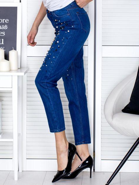 Spodnie jeansowe ciemnoniebieskie z perełkami                                  zdj.                                  3