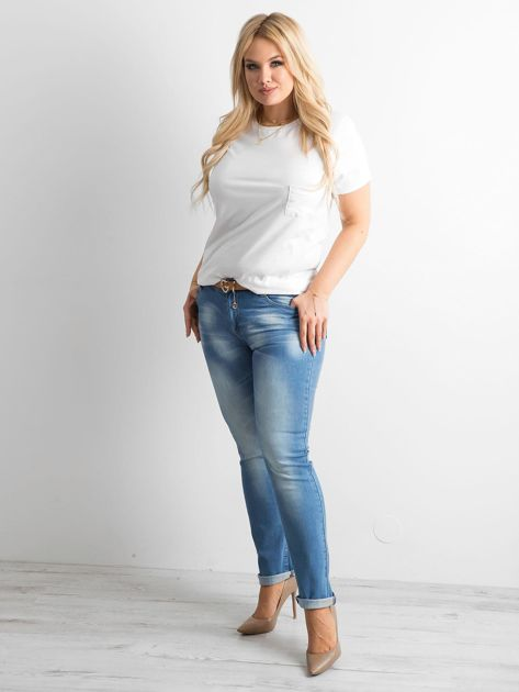 Spodnie jeansowe plus size niebieskie                              zdj.                              4