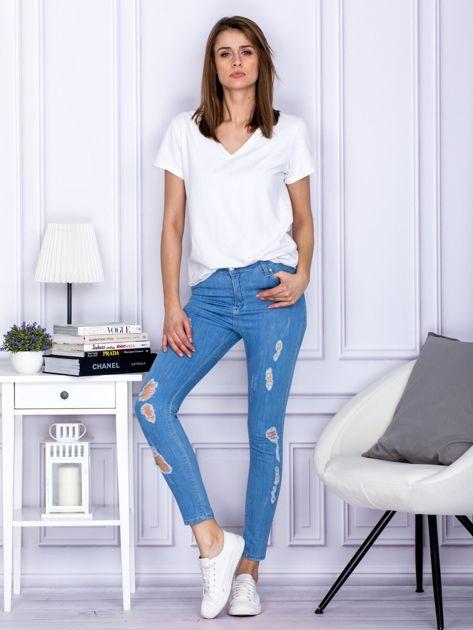 Spodnie jeansowe ripped niebieskie                                  zdj.                                  4