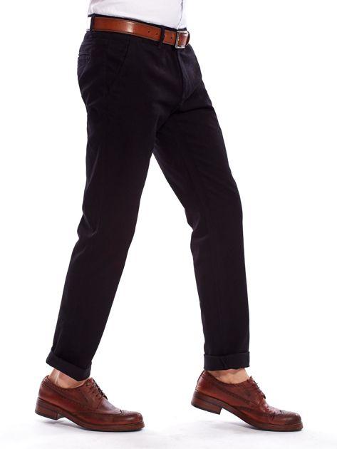 Spodnie męskie czarne o prostym kroju                                  zdj.                                  8