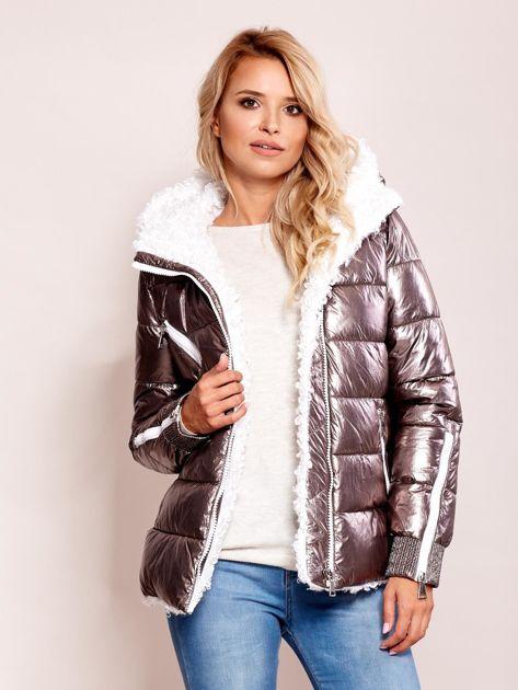 Srebrna metaliczna pikowana kurtka                              zdj.                              6