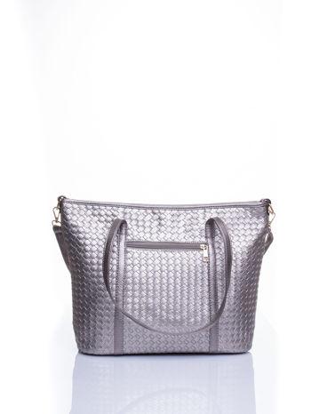 Srebrna pleciona torba shopper bag ze złotym detalem                                  zdj.                                  3