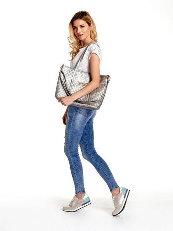 Srebrna pleciona torba shopper bag ze złotym detalem                                  zdj.                                  6