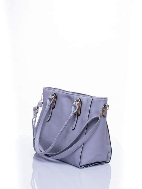 Srebrna torba shopper bag z odpinanym paskiem                                  zdj.                                  3