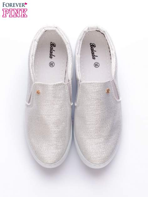 Srebrne buty sliponki glitter                                  zdj.                                  6