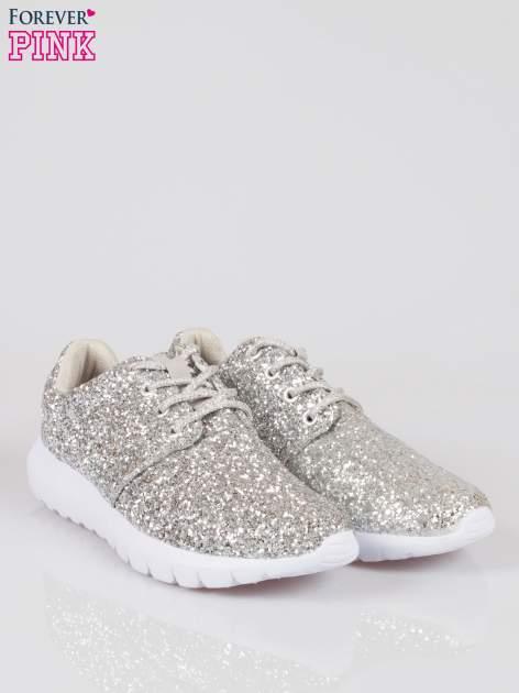 Srebrne buty sportowe textile Crummy z brokatowym efektem                                  zdj.                                  2