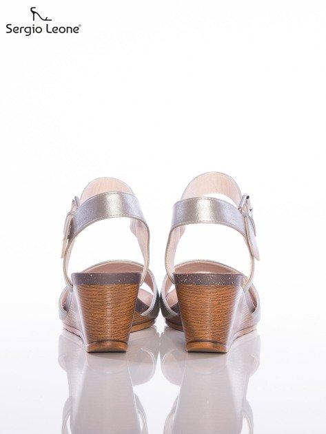 Srebrne sandały Sergio Leone na koturnach                              zdj.                              3