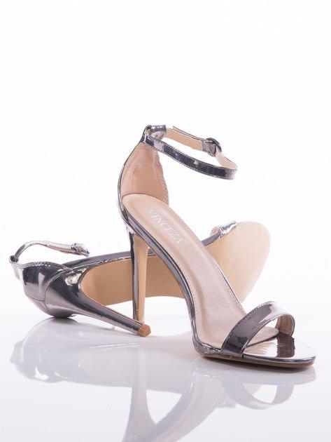 Srebrne sandały Vinceza na szpilkach zapinane w kostkach                               zdj.                              4