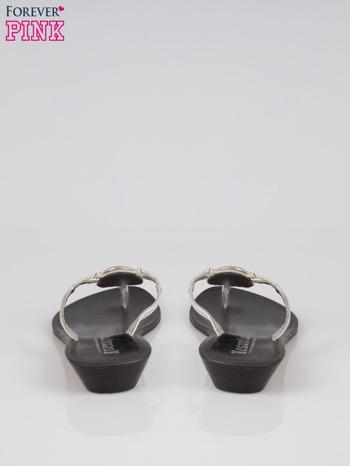 Srebrne skórzane japonki Parisienne ze srebrną ozdobą                                  zdj.                                  3