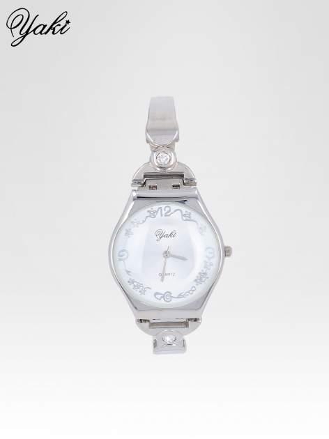 Srebrny biżuteryjny zegarek damski z białą tarczą                                  zdj.                                  1