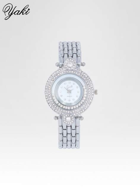 Srebrny biżuteryjny zegarek damski z cyrkoniową kopertą