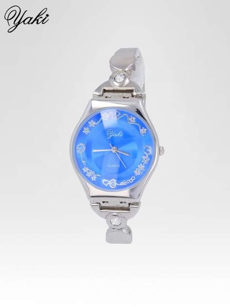 Srebrny biżuteryjny zegarek damski z niebieską tarczą                                  zdj.                                  2