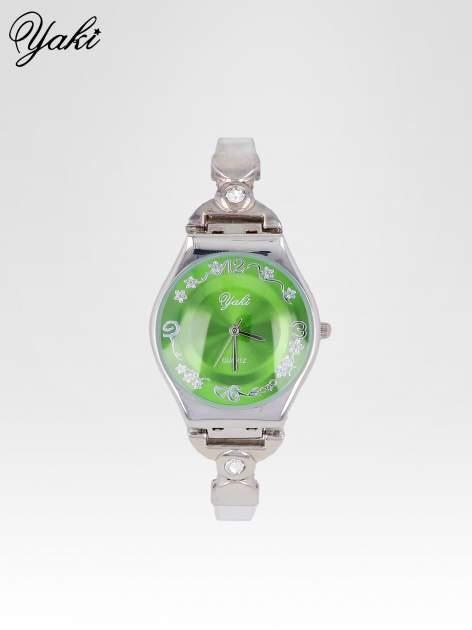 Srebrny biżuteryjny zegarek damski z zielona tarczą