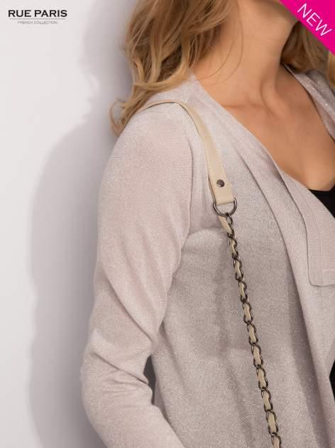 Srebrny kardigan z opadającymi bokami przeplatany metalizowaną nicią                                  zdj.                                  6