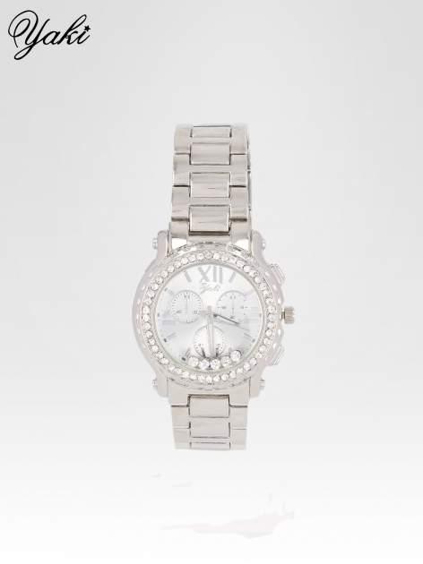 Srebrny zegarek damski na bransolecie z cyrkoniami na kopercie                                  zdj.                                  1