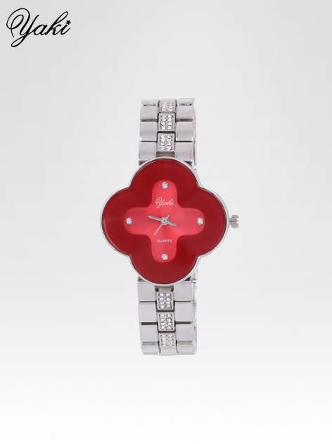Srebrny zegarek damski na bransolecie z czerwoną tarczą koniczyną                                  zdj.                                  1