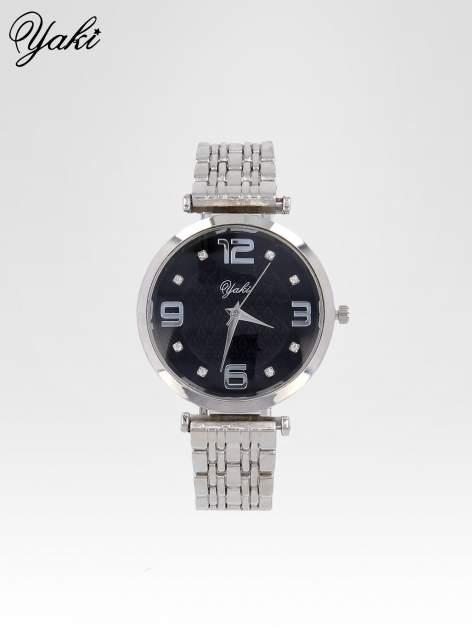 Srebrny zegarek damski na bransolecie z dużą czarną tarczą
