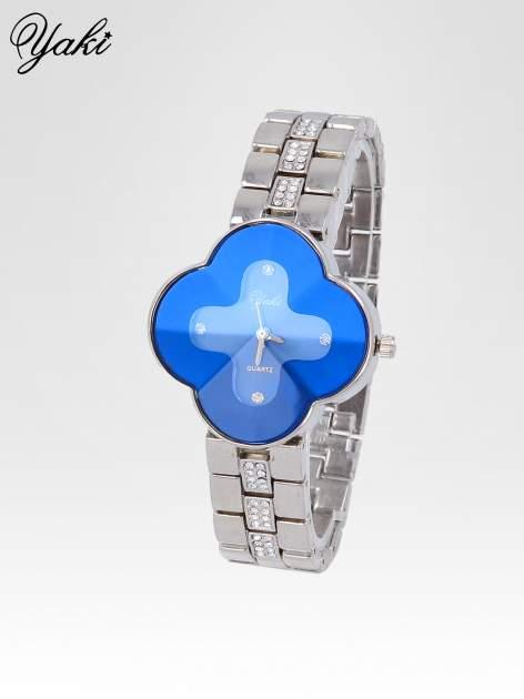 Srebrny zegarek damski na bransolecie z niebieską tarczą koniczyną                                  zdj.                                  2