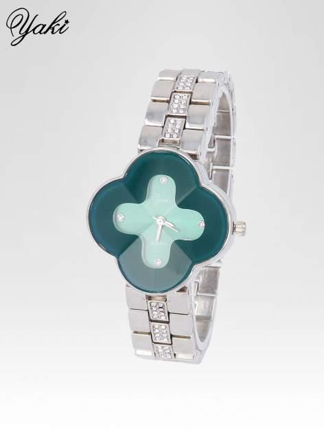Srebrny zegarek damski na bransolecie z zieloną tarczą koniczyną                                  zdj.                                  2