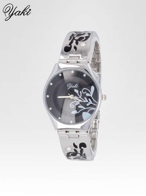 Srebrny zegarek damski z grawerem kwiatów                                  zdj.                                  2