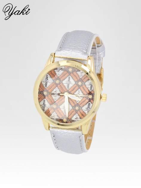 Srebrny zegarek damski ze złotą kopertą i etno tarczą                                  zdj.                                  2