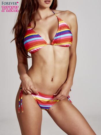Stanik od bikini w różnokolorowe paski wiązany na szyi                                  zdj.                                  3