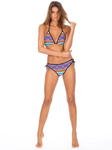 Strój kąpielowy wiązane bikini w kolorowe geometryczne wzory                              zdj.                              5