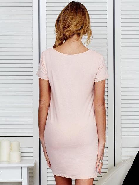 Sukienka bawełniana IT'S ABOUT STYLE brzoskwiniowa                                  zdj.                                  2