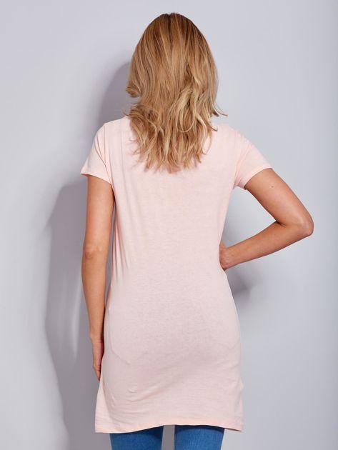 Sukienka bawełniana brzoskwiniowa z nadrukiem parasola                                  zdj.                                  3