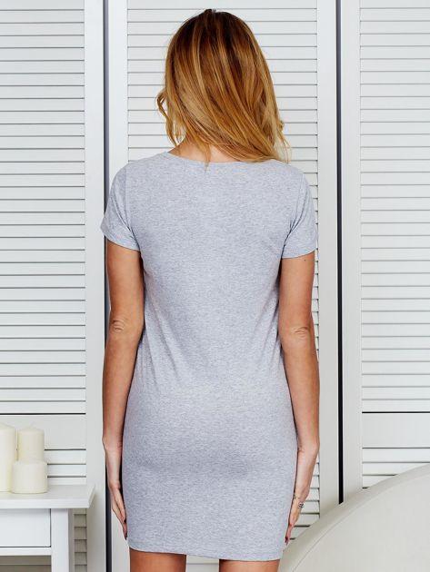 Sukienka bawełniana z napisami jasnoszara                              zdj.                              2