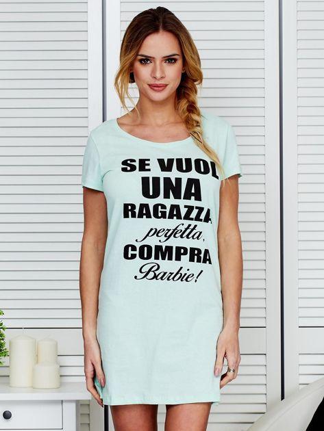 Sukienka bawełniana z napisami miętowa                                  zdj.                                  1
