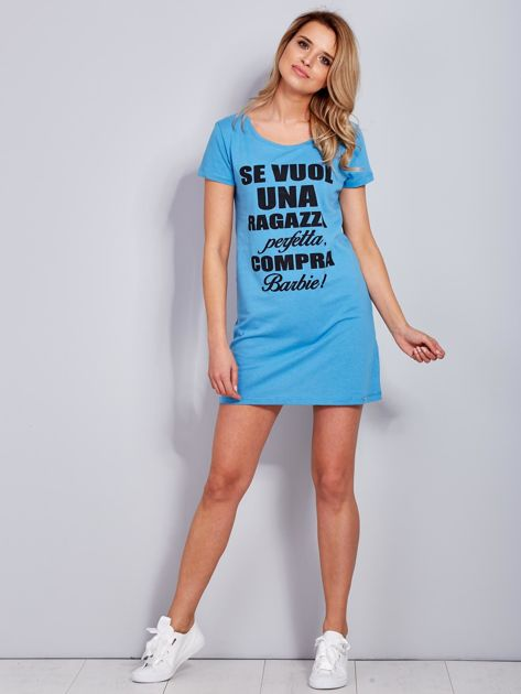 Sukienka bawełniana z napisami niebieska                                  zdj.                                  4