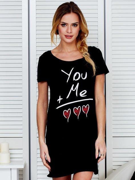 Sukienka czarna bawełniana z miłosnym nadrukiem                                  zdj.                                  1