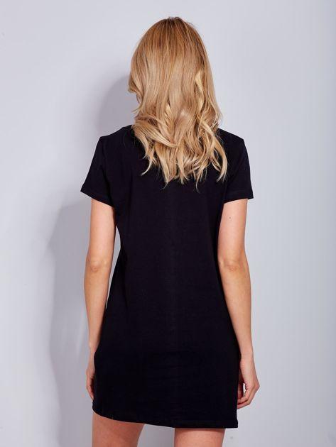 Sukienka czarna bawełniana z napisem COLLEGE                                  zdj.                                  3