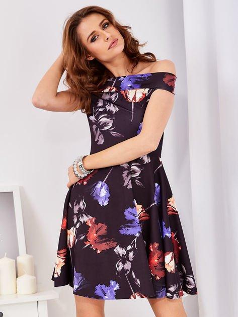 Sukienka czarna w tulipany                                  zdj.                                  1