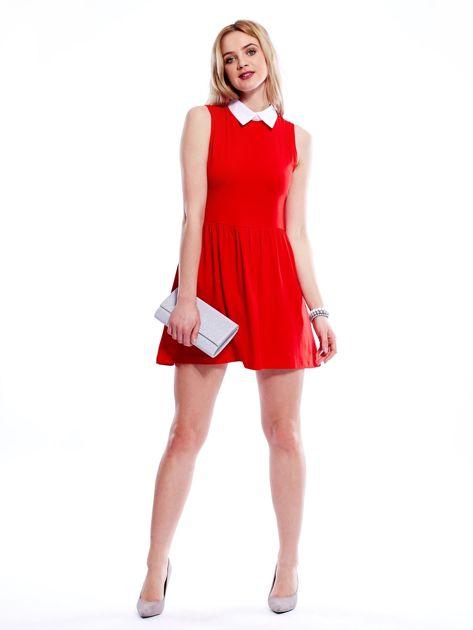 Sukienka czerwona z kołnierzykiem                              zdj.                              4