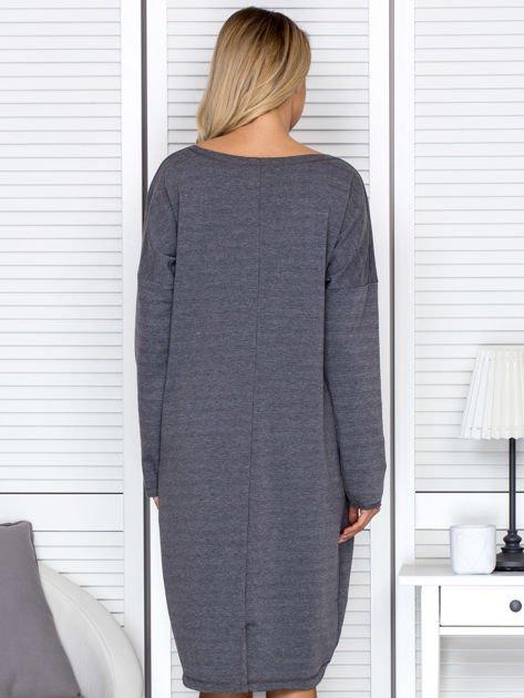 Sukienka damska dresowa o luźnym kroju ciemnoszara                              zdj.                              2
