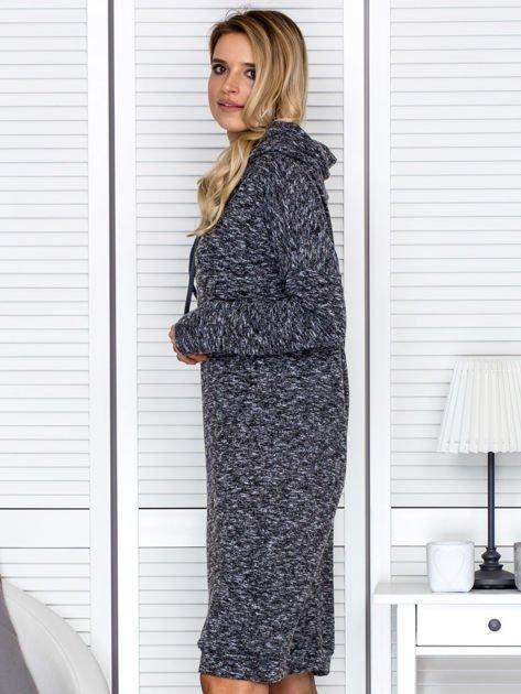 Sukienka damska melanżowa z szerokim kołnierzem czarna                              zdj.                              5
