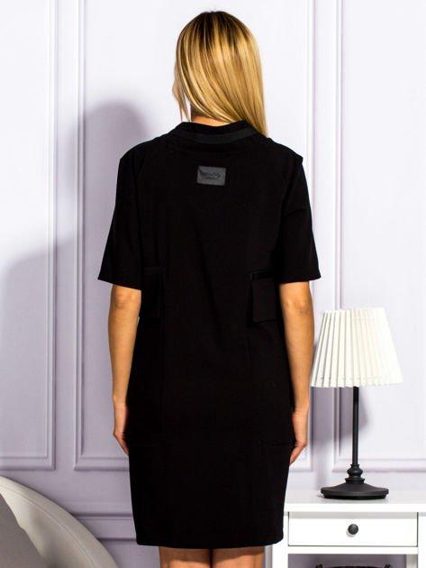 Sukienka damska z kieszeniami czarna                                  zdj.                                  2