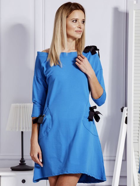 Sukienka damska z kokardami niebieska                              zdj.                              1