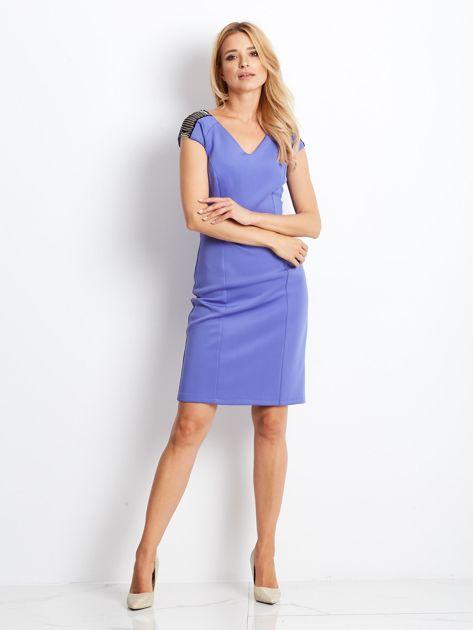 Sukienka damska z łańcuszkami na ramionach jasnoniebieska                                   zdj.                                  5