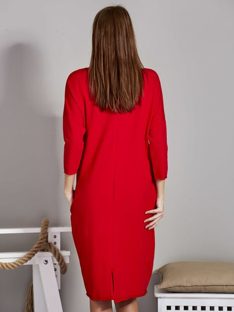 Sukienka damska z napisem z dżetów czerwona                                  zdj.                                  2