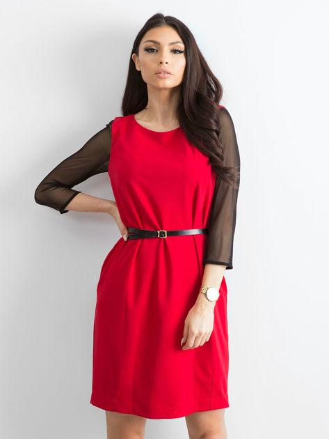 Sukienka damska z transparentnymi rękawami czerwona