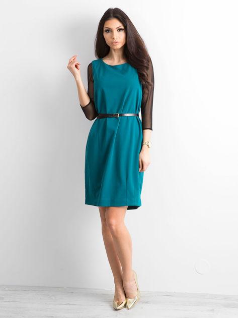 Sukienka damska z transparentnymi rękawami zielona                              zdj.                              4